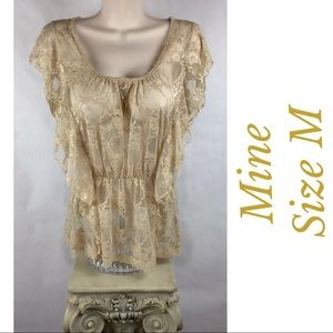 Mine Anthropologie Size M Sheer Lace Top Blouse